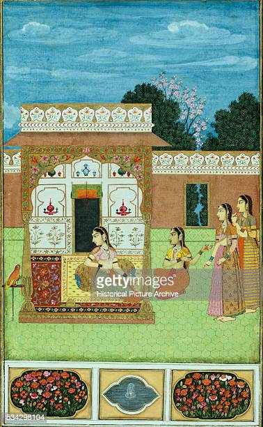 Miniature Painting of Four Women in Garden Pavilion with Parrot on Stand