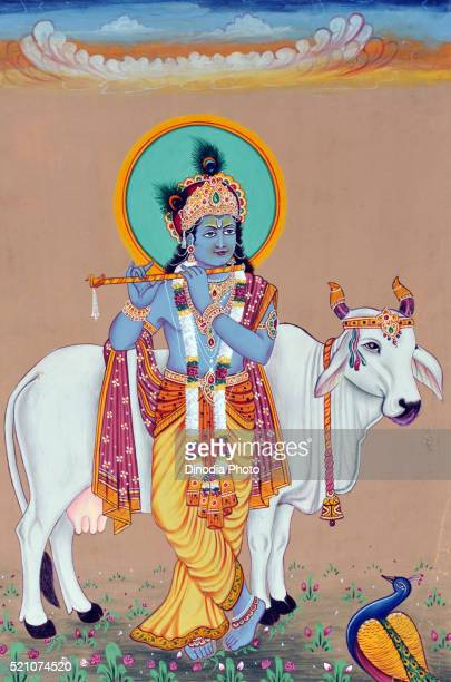 miniature painting of god krishna, india, asia - lord krishna stock pictures, royalty-free photos & images