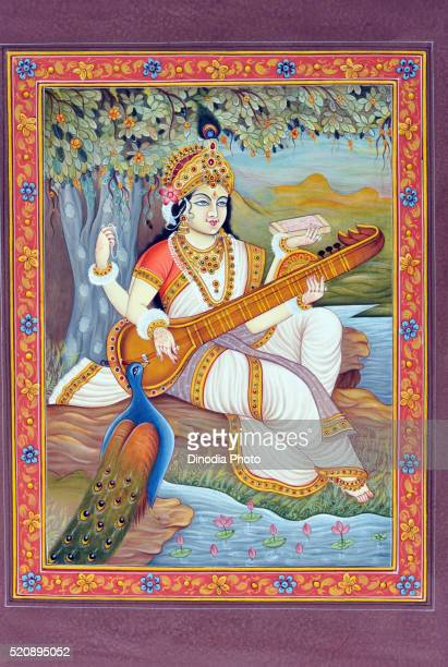 Miniature painting of Goddess Saraswati, India, Asia