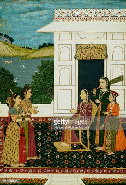 Miniature Painting of Lady on Terrace by a Lake with Four Female Attendants