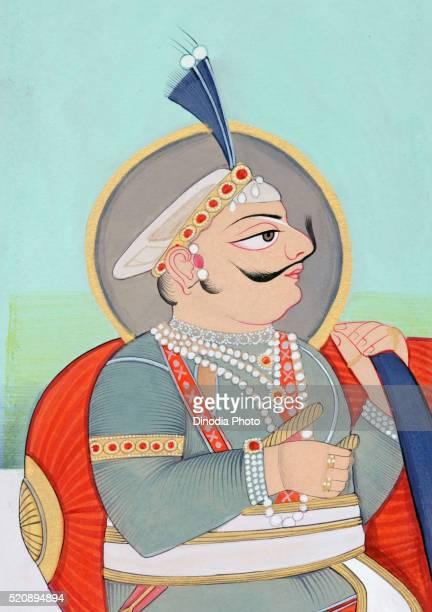 Miniature painting of Maharaja Prithviraj Chauhan Ajmer 1193, India, Asia