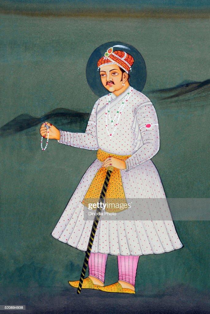 Miniature painting of Mughal Emperor Akbar, India, Asia : Stock Photo