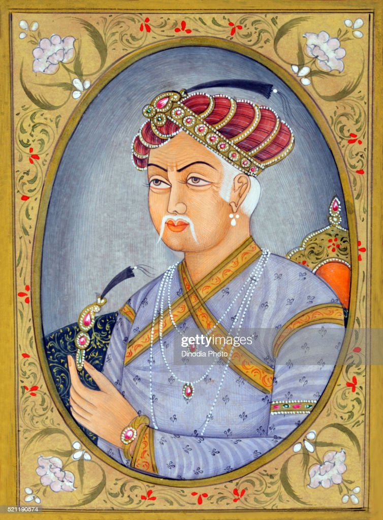 Miniature painting of Mughul Emperor Akbar, India, Asia : Stock Photo