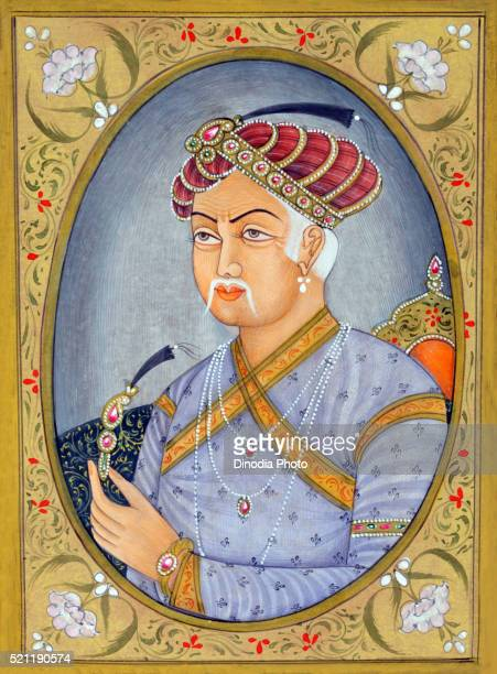 Miniature painting of Mughul Emperor Akbar, India, Asia