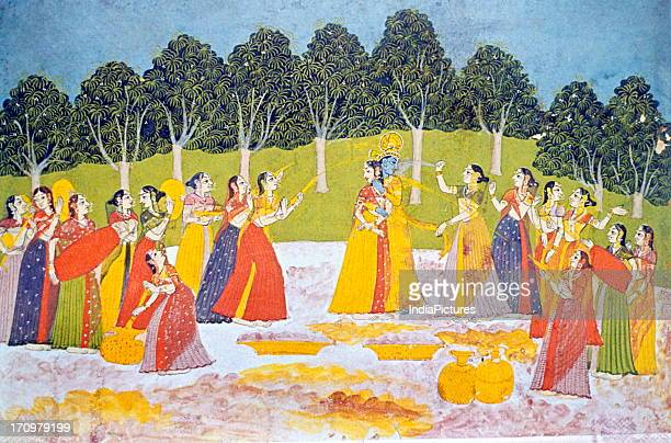 Miniature painting of Radha and Krishna playing Holi Datiya National Museum Madhya Pradesh India