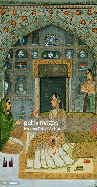Miniature Painting of Seated Lady with Attendants in a Pavilion at Night