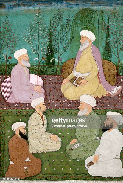 Miniature Painting of Seated Muslim Holy Men on Garden Terrace