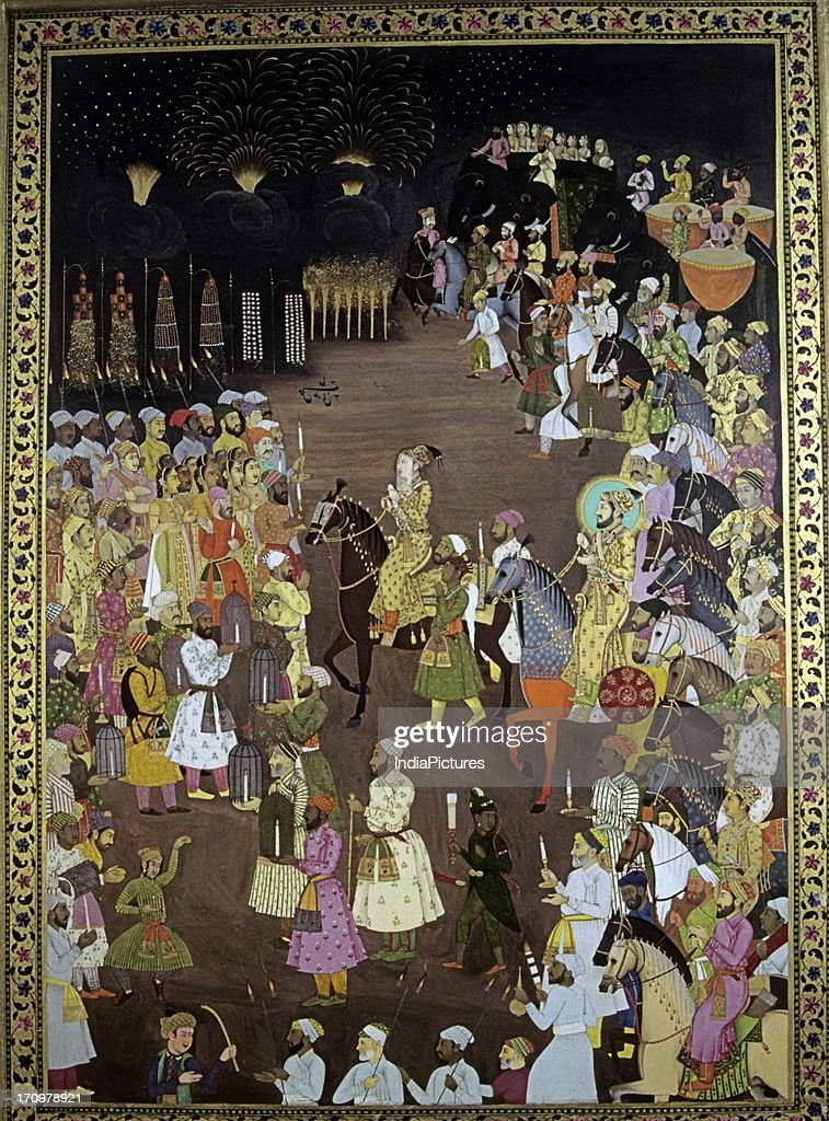 Painting of a wedding procession pictures getty images miniature painting of wedding procession of dara shikoh in presence of shah jahan avadh junglespirit Images