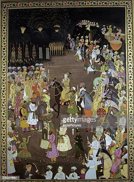 Miniature painting of wedding procession of Dara Shikoh in presence of Shah Jahan Avadh National Museum New Delhi India