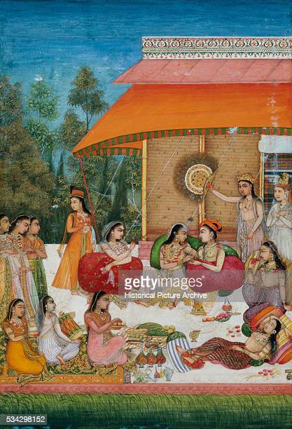 'Miniature Painting of Women Celebrating in a Pavilion Possibly a Representation of a Mughal Court Harem '