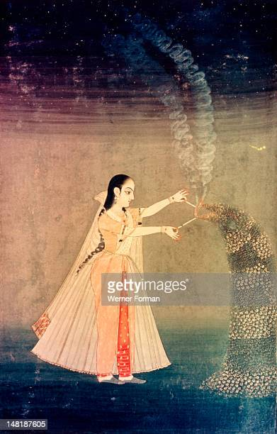 A miniature painting showing Nadre Banu lighting fireworks India Moghul 18th century