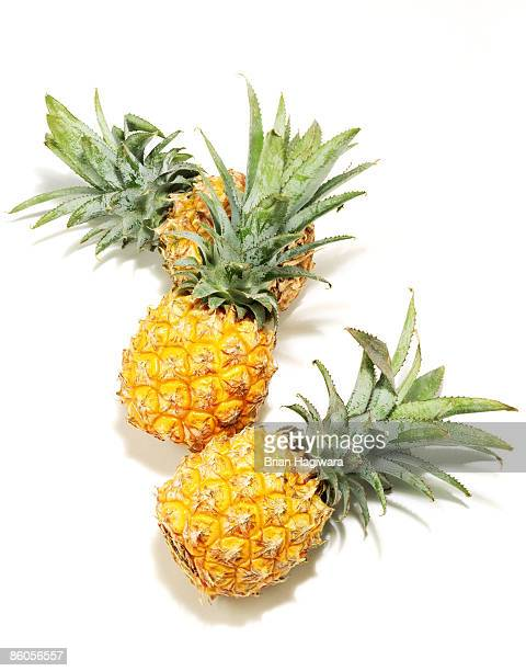Miniature pineapples on white