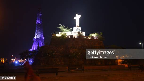 A miniature replica of Brazil's Christ the Redeemer in Seven Wonders Park situated on the banks of Kishore Sagar Lake of Kota on May 17 2018 in Kota...