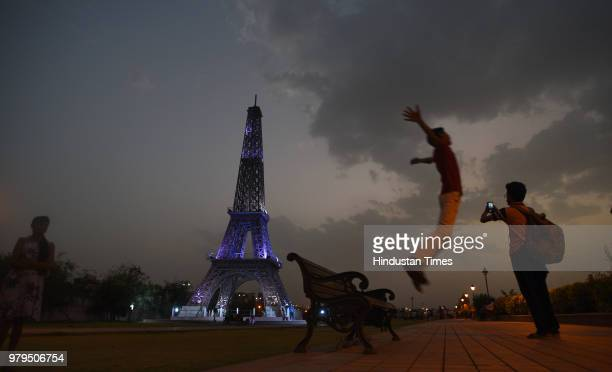 A miniature replica of Eiffel Tower in Seven Wonders Park situated on the banks of Kishore Sagar Lake of Kota on May 17 2018 in Kota India These...