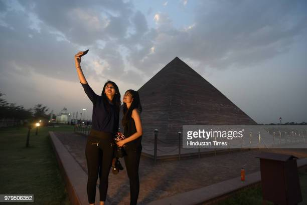 A miniature replica of Great Pyramid at Giza situated on the banks of Kishore Sagar Lake of Kota on May 17 2018 in Kota India These replicas and the...