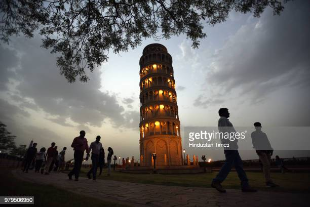 A miniature replica of Leaning Tower of Pisa in Seven Wonders Park situated on the banks of Kishore Sagar Lake of Kota on May 17 2018 in Kota India...