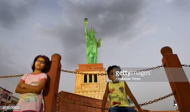 A miniature replica of New York's Statue of Liberty situated on the banks of Kishore Sagar Lake of Kota on May 17 2018 in Kota India These replicas...