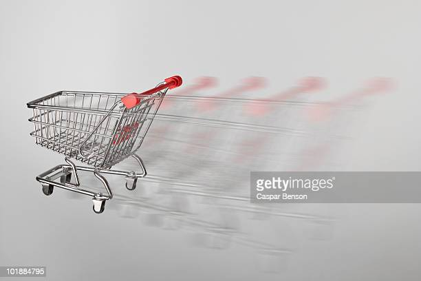 A miniature shopping cart on the move