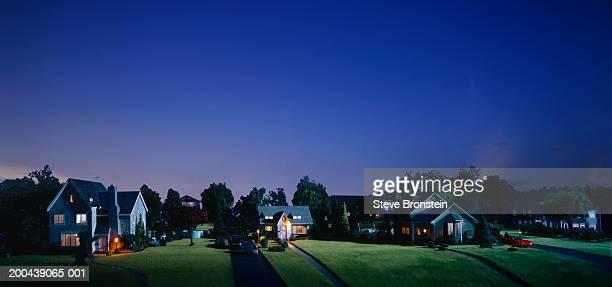 Miniature suburban neigborhood, dusk