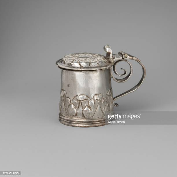 Miniature tankard, Probably by George Manjoy , 1685–86, British, London, Silver, 1 1/4 × 1 1/8 in. , Metalwork-Silver-Miniature, Probably by George...