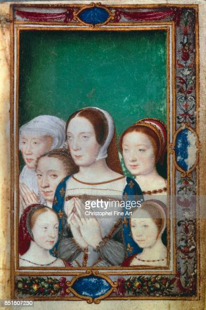 Miniature, The daughters of Francis I with his Wives, Claude of France and Eleanor of Austria : from The Book of Hours of Catherine de Medici ,...