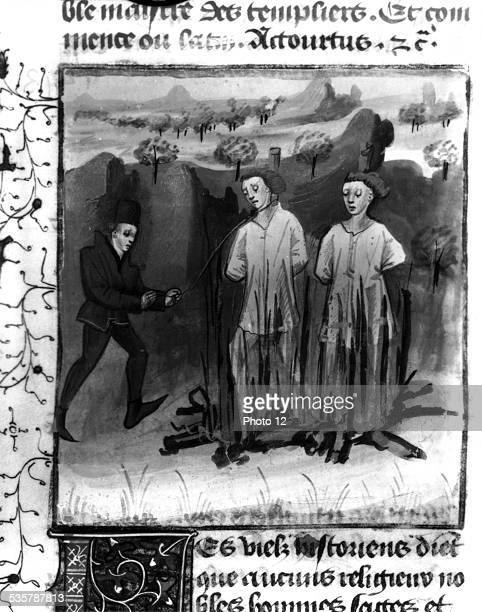 Miniature torture of the Knights Templars organized by Guillaume de Nogaret under King Philip IV le Bel Torture of Jacques Molay and Geoffroi de...