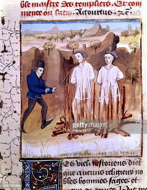 Miniature Torture of the Temple's grand masters and the Templars ordered by Guillaume de Nogaret under the reign of Philip the Fair Torture of...