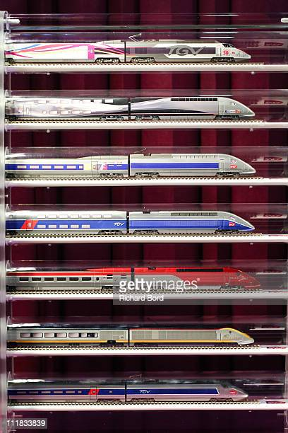 Miniature trains including TGV Eurostar and Thalys are seen during the SNCF presentation at Gare Montparnasse on April 7 2011 in Paris France French...