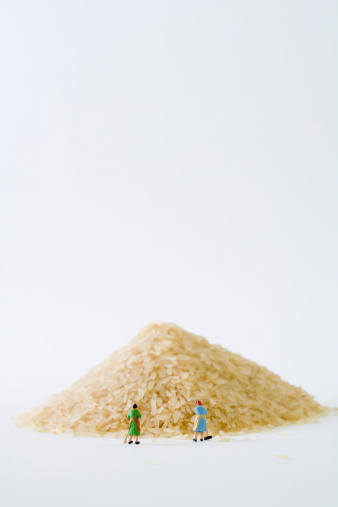 Miniature women sweeping large pile of rice - gettyimageskorea