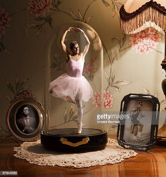 miniature young man dressed as a ballerina