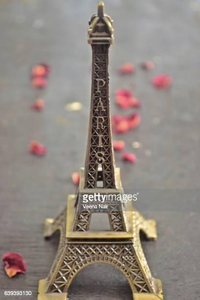 Miniature/Replica Eiffel Tower-Rose petals-Paris