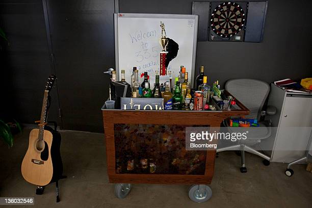 A minibar cart is set up at Facebook Inc's office in New York US on Tuesday Dec 20 2011 'Cool spaces' will spread to US cities outside major Internet...