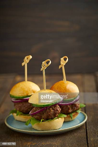Mini-Burger with mincemeat, salad and red onions on plate