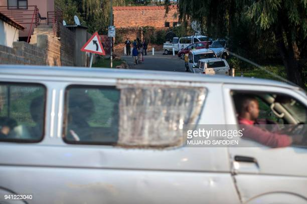 A minibus taxi drives on April 3 2018 near the house of late South African antiapartheid campaigner Winnie MadikizelaMandela exwife of former South...