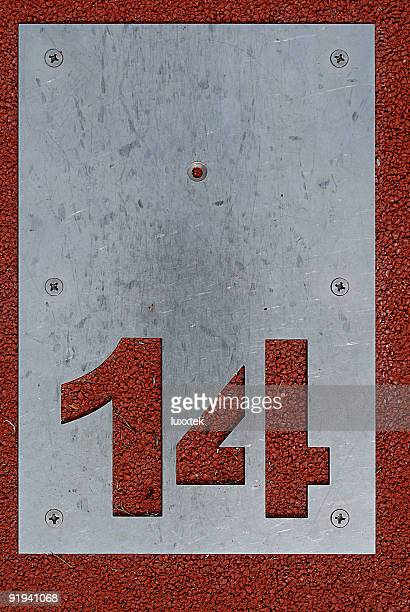 minigolf start position 14 - number 14 stock photos and pictures