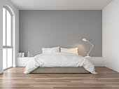 Minimal bedroom with gray wall 3d render