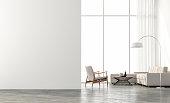 Minimal style  living room 3d render
