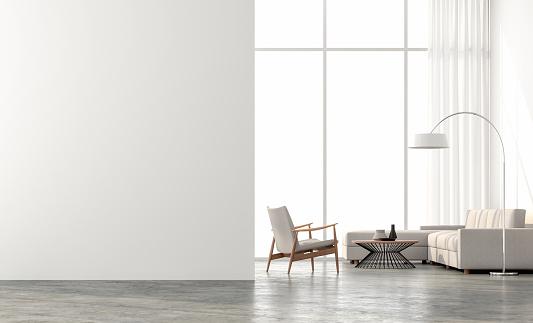 Minimal style  living room 3d render 994217090