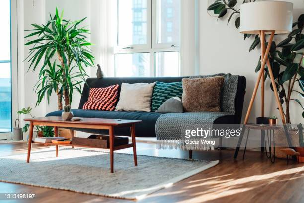 minimal style living room with sunlight coming through the window - fashionable stock pictures, royalty-free photos & images