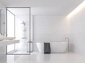 Minimal style white bathroom 3d render