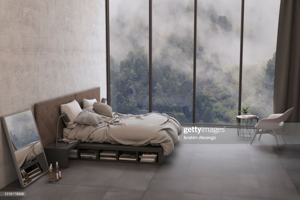 Minimalist Bedroom Interior With Nature View High Res Stock Photo Getty Images