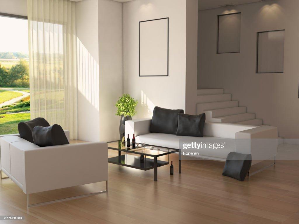 Minimalistisch ontworpen duplex home interieur stockfoto getty