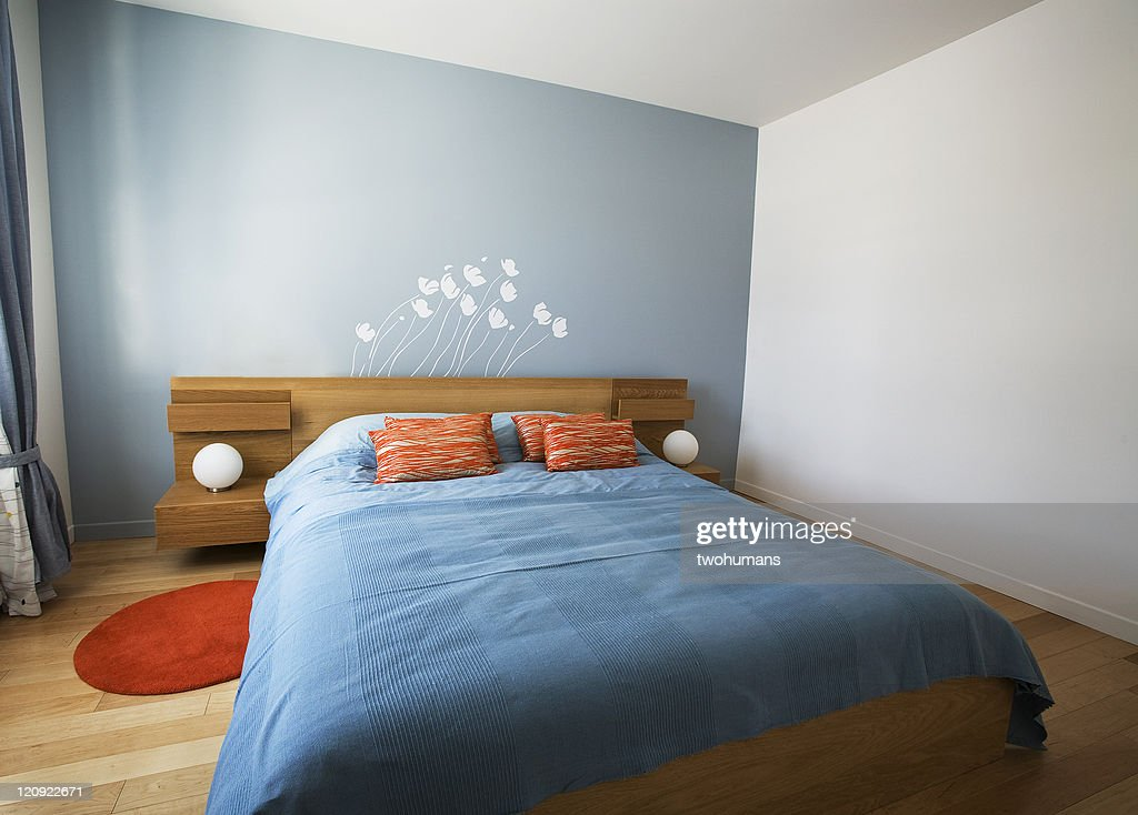 Minimalist designed summer bedroom : Stock Photo