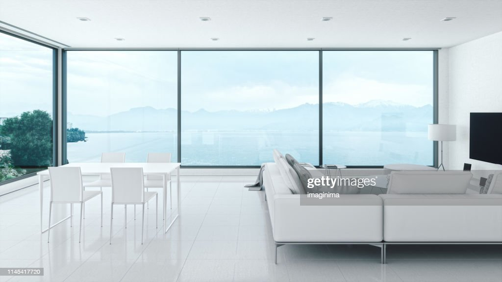 Minimalist Home Interior With Sea View High Res Stock Photo Getty Images