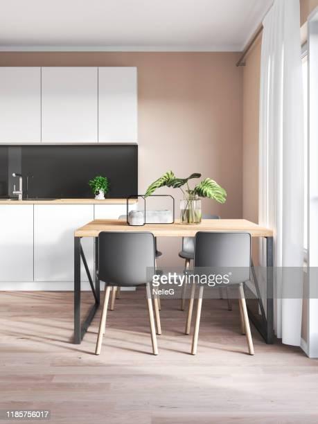 cozinha minimalista e sala de jantar - bege - fotografias e filmes do acervo