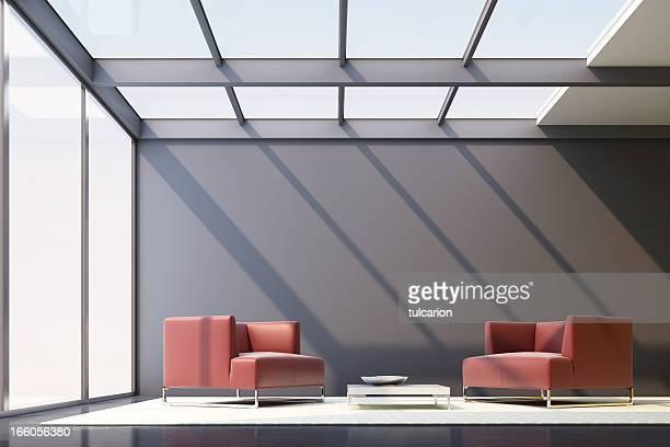 minimalistische lounge zimmer - eingangshalle gebäudeteil stock-fotos und bilder