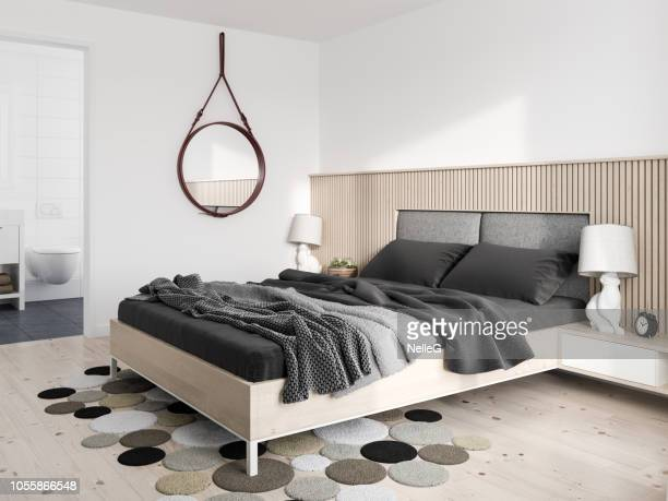 minimalist modern bedroom - carpet decor stock photos and pictures
