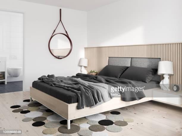 quarto moderno minimalista - quarto de dormir - fotografias e filmes do acervo
