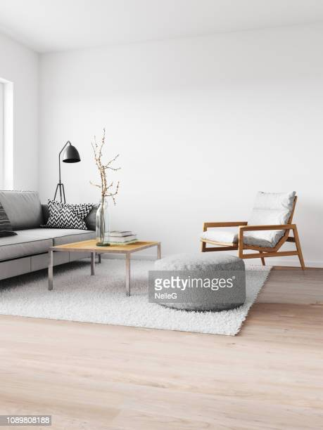 minimalist modern interior - living room stock pictures, royalty-free photos & images