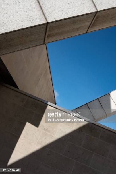 minimalist photo of geometric shadows and  shapes created by sunlight and parts of a building. - clear sky stock pictures, royalty-free photos & images